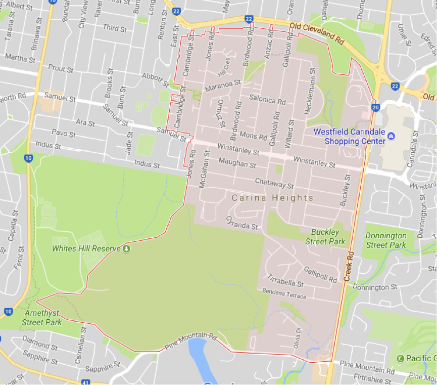 Carina Heights Brisbane Map