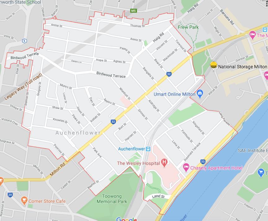 Auchenflower Brisbane Map