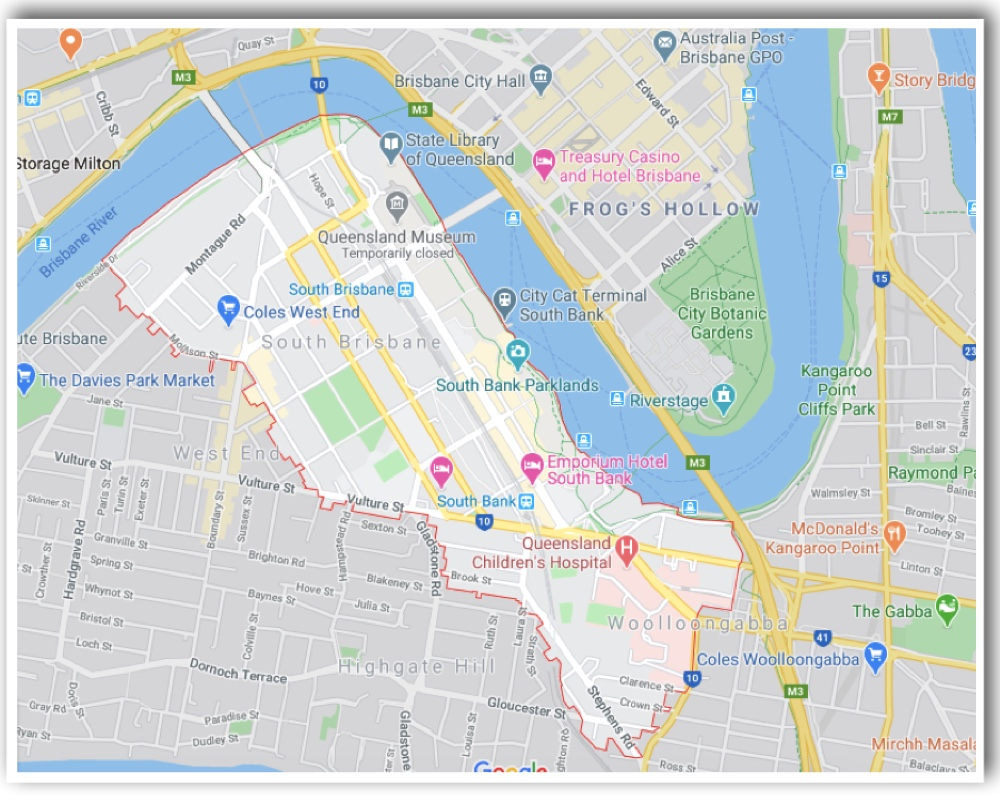 South Brisbane Map