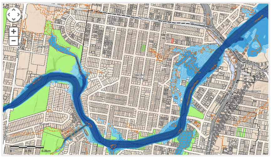 Gordon Park Flood map